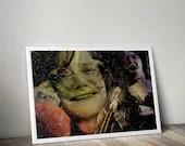 Janis Joplin Music Tribute   - PRINTED Boys and girls Geek man woman cave nerds bedroom office