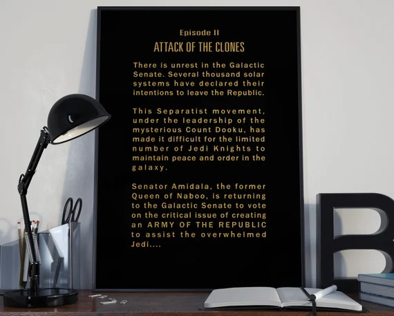 Attack Of The Clones Episode II Opening Crawl Star Wars Tribute for the Big Boys Geek man cave nerds bedroom office kids