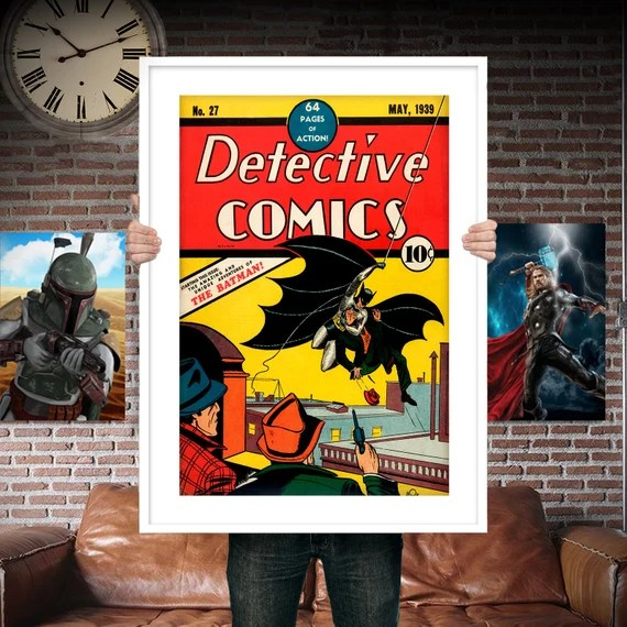 Classic Batman First Appearance - Comic Book Cover Boys Geek kids man cave nerds bedroom office nursery superhero