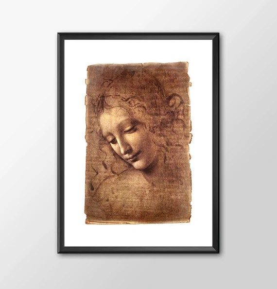 Da Vinci Woman -Digital Leonardo Da Vinci Tribute kids bedroom office nursery old style lounge kitchen