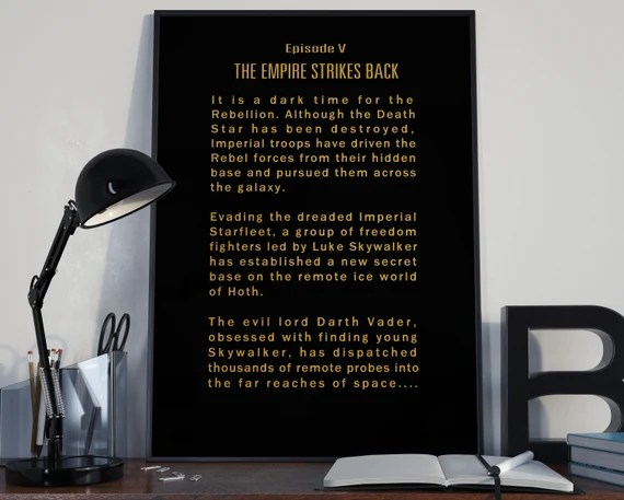 The Empire Strikes Back Episode V Opening Crawl Star Wars Tribute for the Big Boys Geek man cave nerds bedroom office kids
