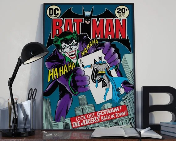 The Joker - Batman villain Classic Comic style for the Big Boys Geek kids man cave nerds bedroom office nursery superhero dc comics