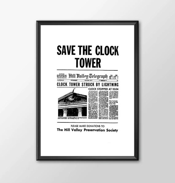 Save The Clock Tower Version 1 - Back To The Future for the Big Boys Geek man cave nerds bedroom office kids superhero dc comics