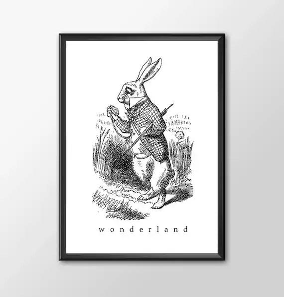 Wonderland 3 - Traditional Alice In Wonderland Art Classic kids bedroom office nursery old style lounge kitchen home decor