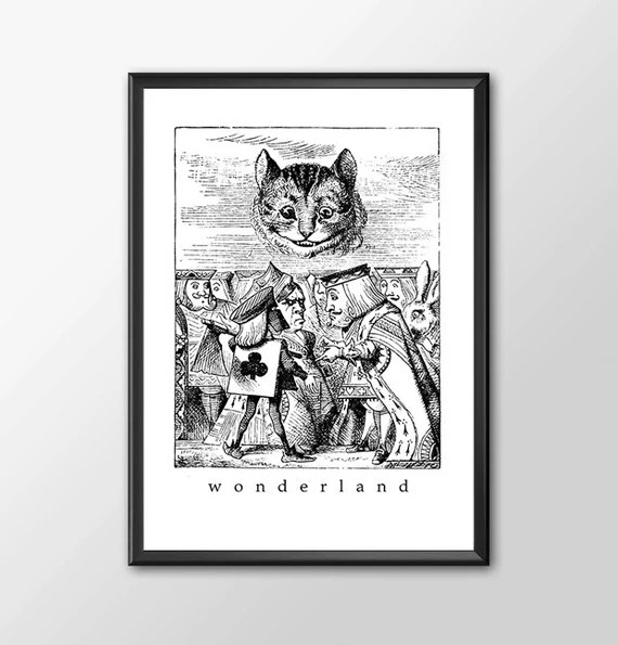 Wonderland 4 - Traditional Alice In Wonderland Art Classic kids bedroom office nursery old style lounge kitchen home decor