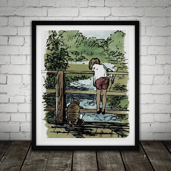 Winnie The Pooh Traditional Alice In Wonderland Art Classic kids bedroom office nursery old style lounge kitchen home decor