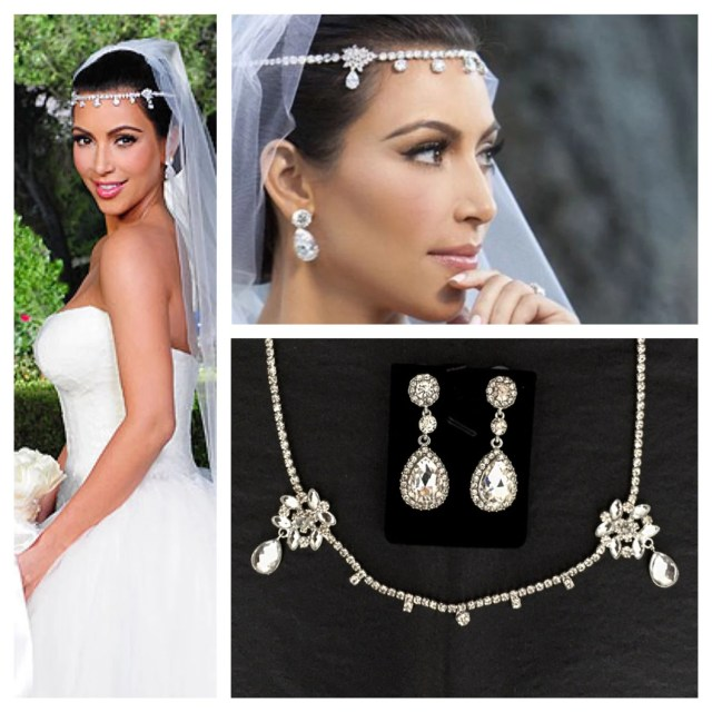 kim kardashian wedding headpiece earrings set tiara headband diamanté crystal diamond bride prom homecoming gatsby wedding jewelry
