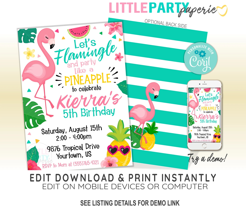 editable flamingo birthday invitation
