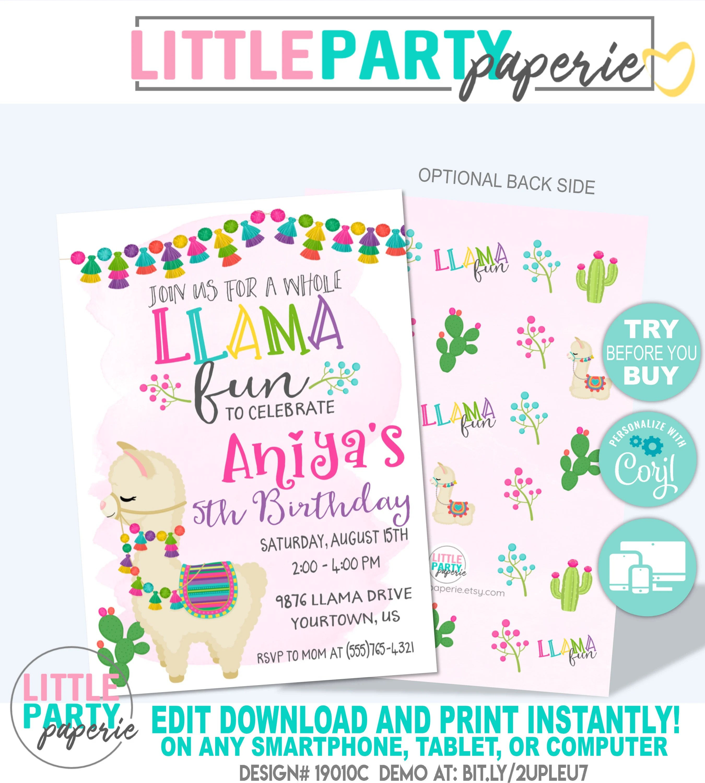 Editable Llama Birthday Invitation Template Whole Llama Fun