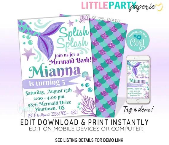 editable mermaid birthday party