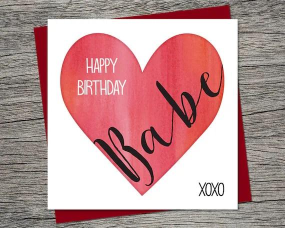 Birthday Card Happy Birthday Babe Wife Birthday Husband Etsy