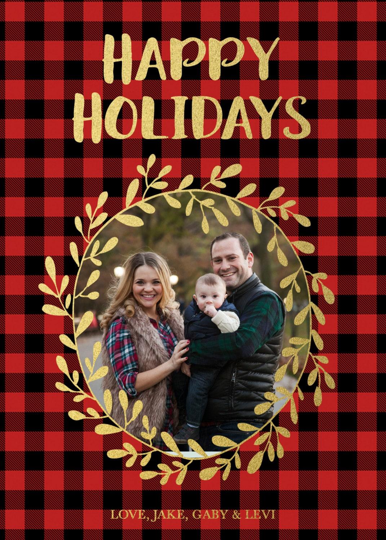 Red Buffalo Plaid Christmas Holiday Photo Card Gold Foil
