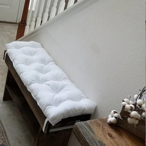 white bench cushion 38 x 14 tufted bench cushion seat cushion cotton canvas
