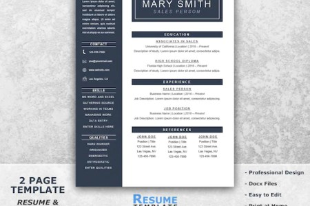 One Page Resume Template Word Resume Cover Letter Templates   Etsy image 0