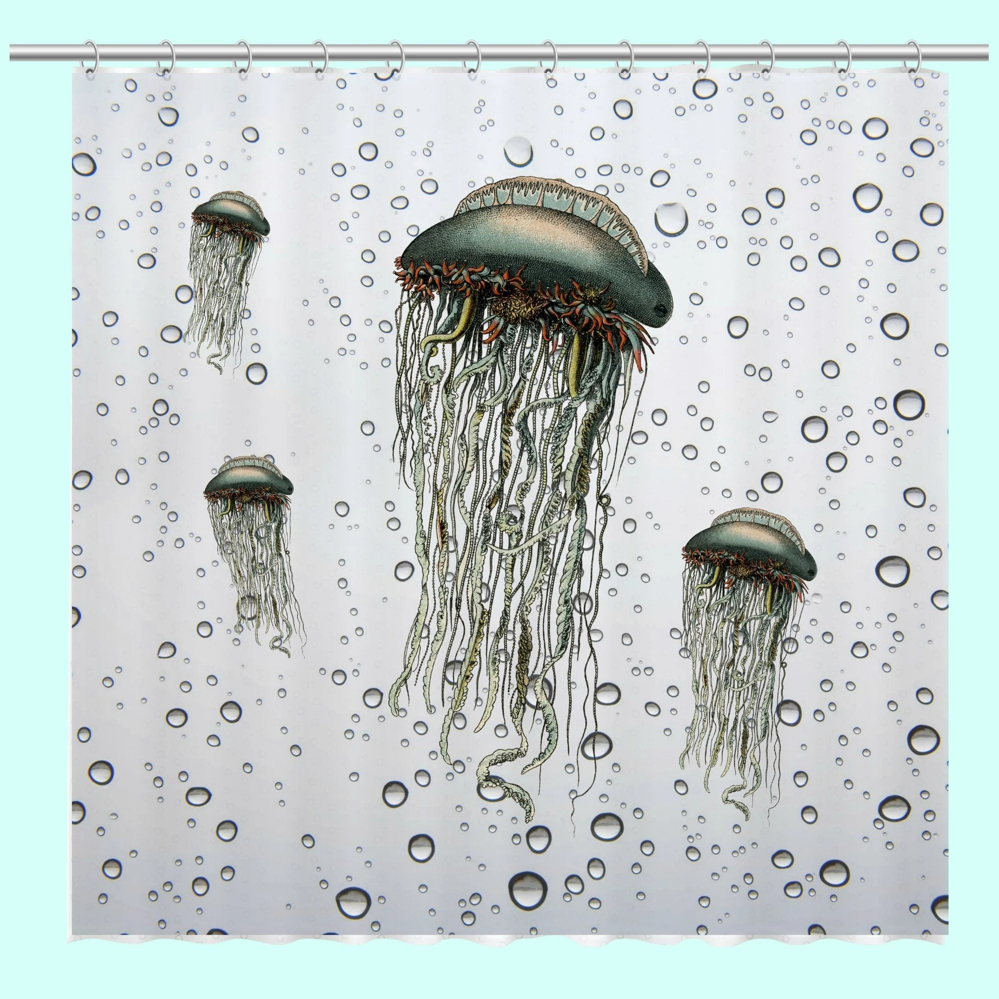 Jellyfish Shower Curtain Unique Beach Decor Jellyfish