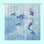 Shower Curtain Beach Decor Mermaid Feeding Fish Mermaid