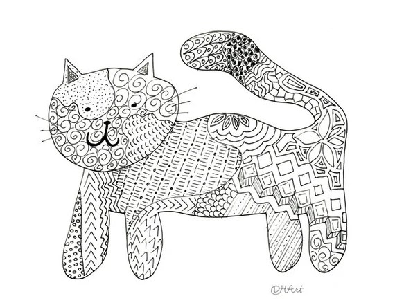 Zentangle Cat Coloring Page To Print And Color Etsy