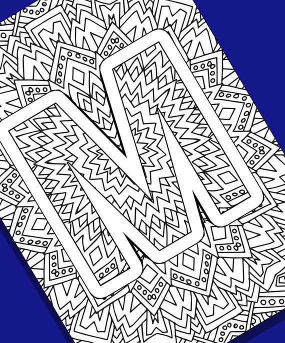 Alphabet Adult Coloring Pages Instant Download Letter M Etsy