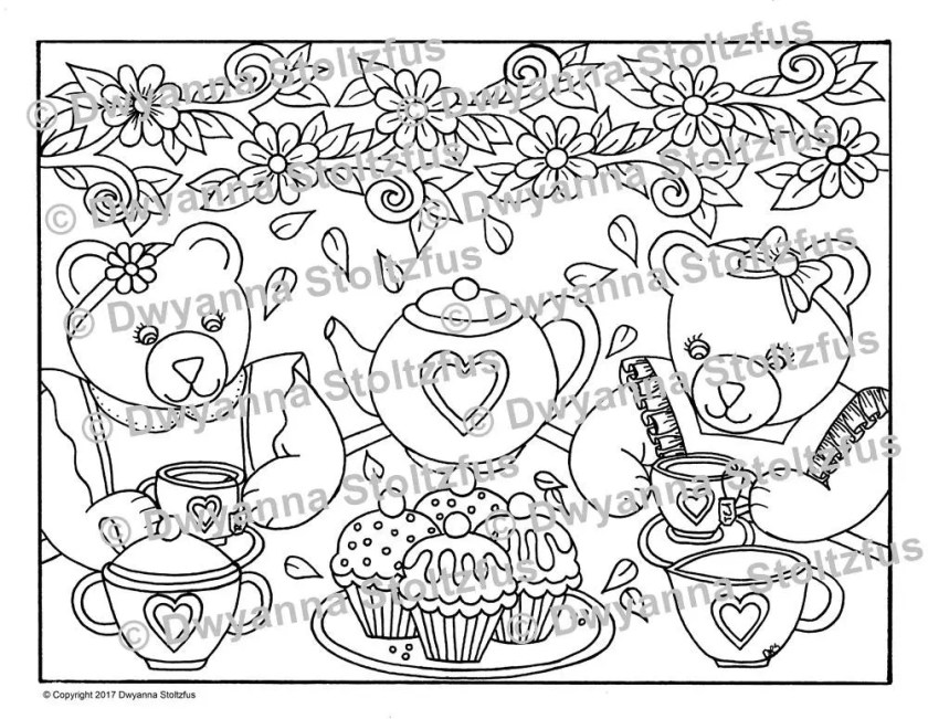 teddy bear tea party coloring page jpg  etsy