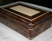 Wood Jewelry Box, American Walnut and Figured Maple Jewelry Box, 5th Anniversary Gift for Her, Wooden Jewelry Box, Jewelry Organizer. 101RW