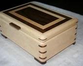 Jewelry Box, Wood Jewelry Box, 5th Anniversary Gift, Wooden Jewelry Box, Jewelry Box Organizer, Maple and Walnut Jewelry Box, 70FM