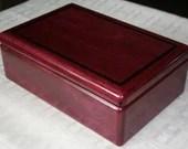 Wood Jewelry Box, Exotic Purple Heart Wood Jewelry Box, Wooden Jewelry Box, Keepsake Box, Valet Box, Jewelry Storage Box. 30PH
