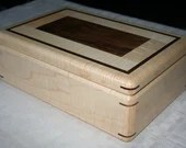 Figured Maple and Walnut Trim Jewelry Box, Wood Jewelry Box, 5th Anniversary Gift, Wooden Jewelry Box, Jewelry Box Organizer. 2RM