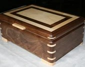 American Walnut with Figured Maple Wood Jewelry Box, Jewelry Box, Wooden Jewelry Box, Jewelry Storage Box, 5th Anniversary Gift, 30FW