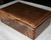 Wood Jewelry Box, 5th Anniversary Gift for Him, Wooden Jewelry Box, Jewelry Box Organizer, American Walnut Wood Box. 53W