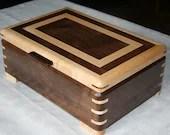 Jewelry Box, Wood Jewelry Box, 5th Anniversary Gift, Wooden Jewelry Box, Jewelry Box Organizer,  Walnut and Maple Wood Box. 49WM