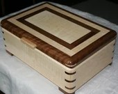 Figured Maple and Walnut Wood Jewelry Box, Wooden Jewelry Box, Handmade Jewelry Box,, Keepsake Box, Jewelry Storage Box,20MW