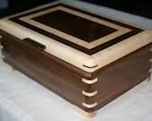 Walnut and Figured Maple Wood Jewelry Box, Wood Jewelry Box, 5th Anniversary Gift, Wooden Jewelry Box, Jewelry Box Organizer. 56WM