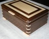 Wooden Jewelry Box, American Walnut with Figured Maple trim, Jewelry Box, Keepsake Box, Jewelry Storage Box, 5th Anniversary Gift, 33FW