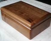 Wooden Jewelry Box, Handcrafted American Walnut Jewelry Box, 5th Anniversary Gift, Keepsake Box, Jewelry Box Organizer. 67W