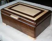 Wooden Jewelry Box, American Walnut with Figured Maple trim, Jewelry Box, Keepsake Box, Jewelry Storage Box, 5th Anniversary Gift, 46FW