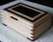 Wooden Jewelry Box, Figured Maple and Walnut Wooden Jewelry Box, Jewelry Storage Box, 5th Anniversary Gift, Jewelry Box. 75FM