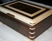 Walnut and Figured Maple Wood Jewelry Box, Wood Jewelry Box, 5th Anniversary Gift, Wooden Jewelry Box, Jewelry Box Organizer. 57WM