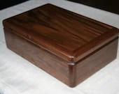 Wooden Jewelry Box, Handcrafted American Walnut Jewelry Box, 5th Anniversary Gift, Keepsake Box, Jewelry Box Organizer. 63W