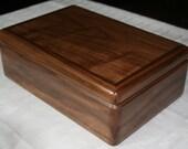 Wooden Jewelry Box, Handcrafted American Walnut Jewelry Box, 5th Anniversary Gift, Keepsake Box, Jewelry Box Organizer. 66W