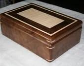 Wooden Jewelry Box, American Walnut and Figured Maple Jewelry Box, 5th Anniversary Gift, Wooden Jewelry Box, Jewelry Box Organizer, . 114RW