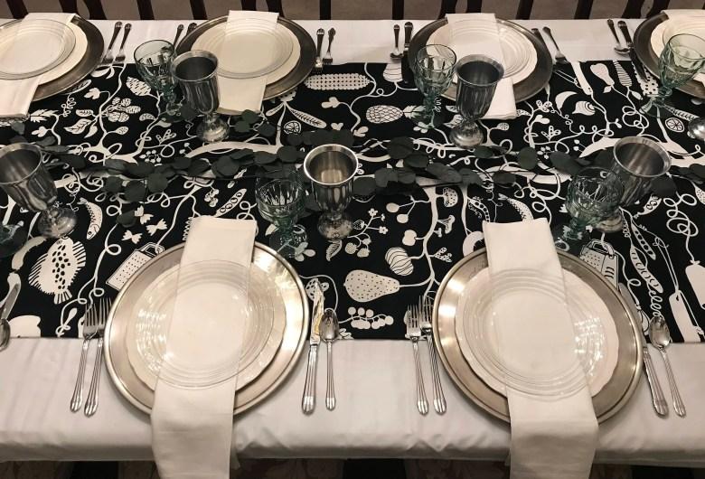 harvest black & white table runner | thanksgiving table linen