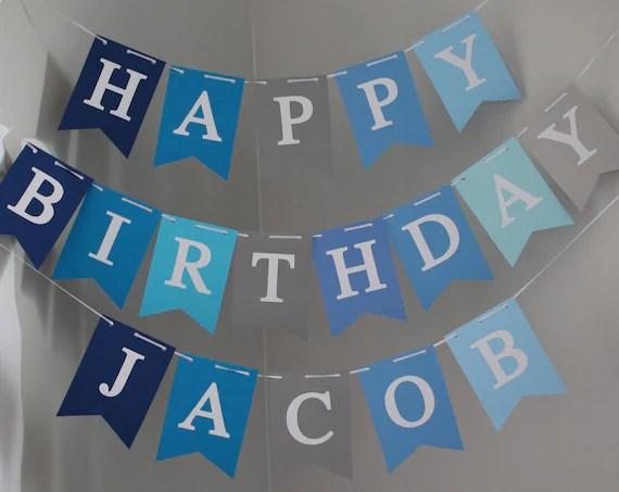 Boy Birthday Banner Happy Birthday Banner Personalized Happy Etsy
