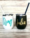 Custom Wine Tumbler With Straw And Lid Bridesmaid Gift Steel Etsy