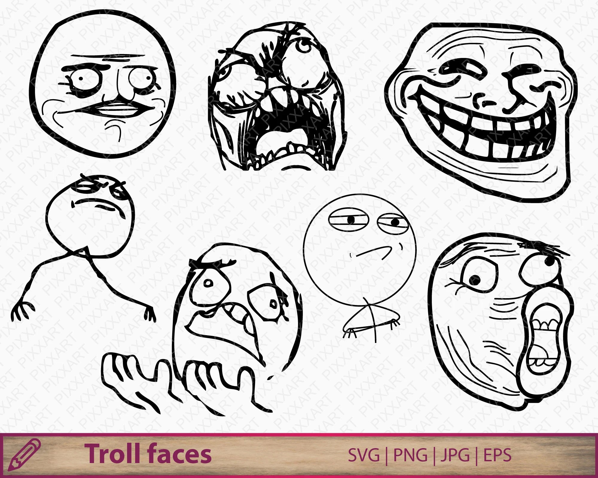 Troll Face Clipart Etsy
