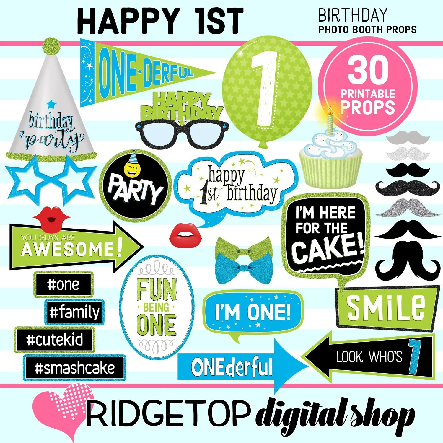 1st Birthday Printable Photo Booth Props Blue Lime Green Etsy