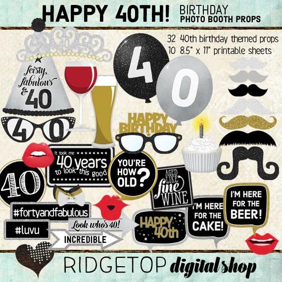 Photo Booth Props Happy 40th Birthday Selfie Station Black Etsy
