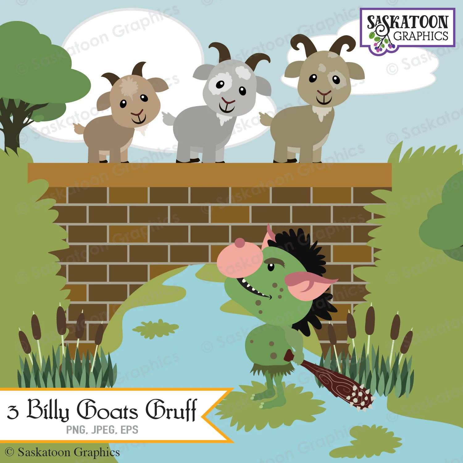 Three Billy Goats Gruff Clipart Instant Download File