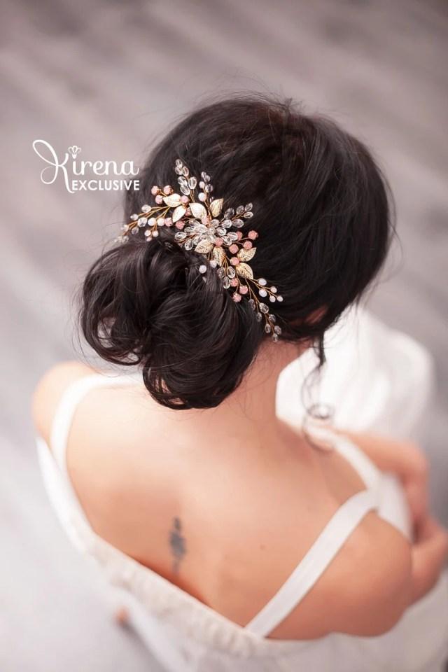 blush bridal silver hair comb crystal bridal comb rhinestone wedding comb gold bridal hair comb wedding hairpiece bride wedding hair comb