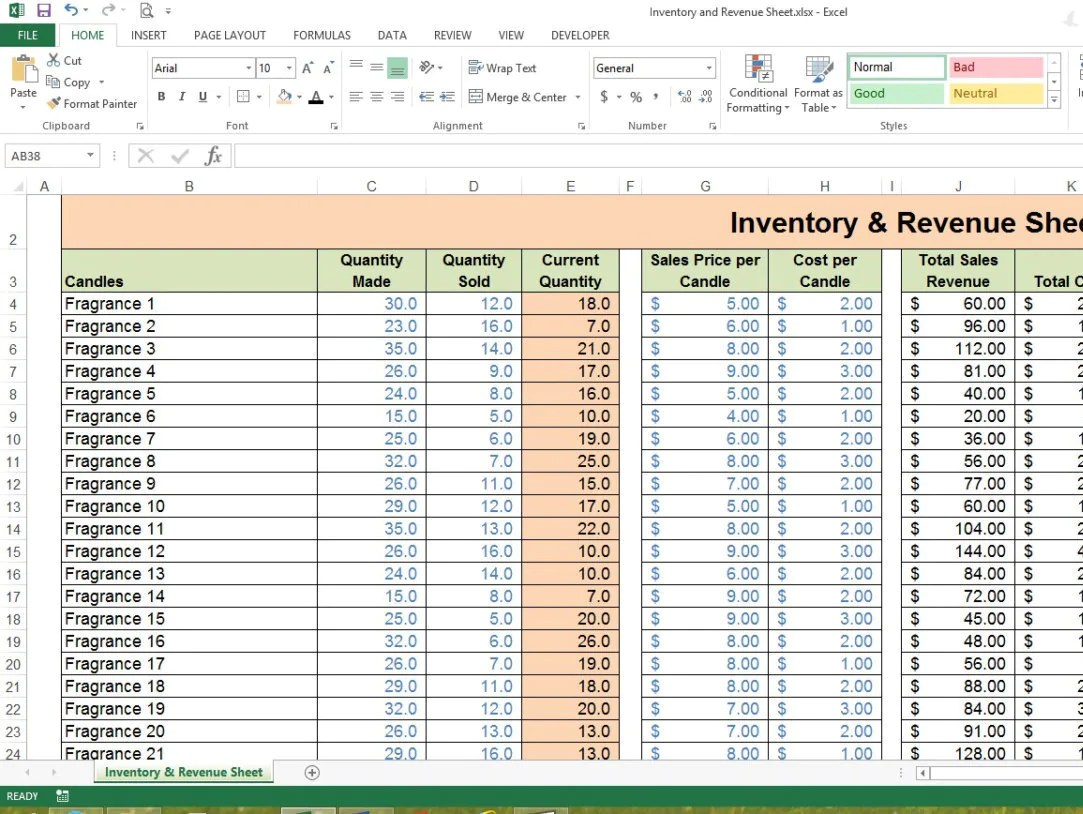 Inventory Amp Revenue Sheet