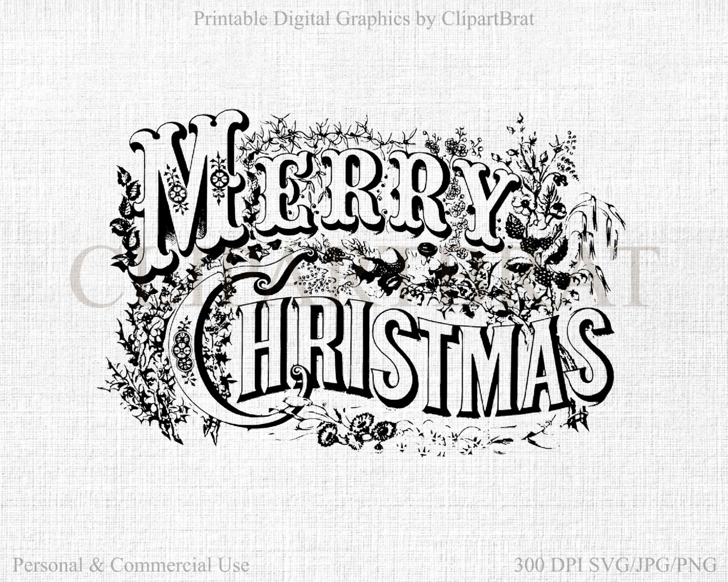 Merry Christmas Typography Clipart For Commercial Use